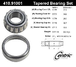 Centric Wheel Bearing and Race Set  Rear Outer