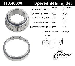 Centric Wheel Bearing and Race Set  Rear Inner