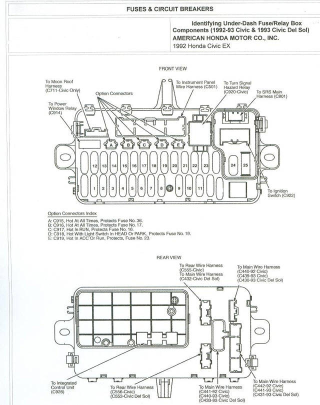Honda civic fuse box diagram for 92 honda civic sciox Gallery
